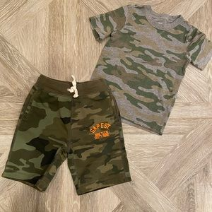 GAP and Carter's Camo shirt and shorts Size 6/7